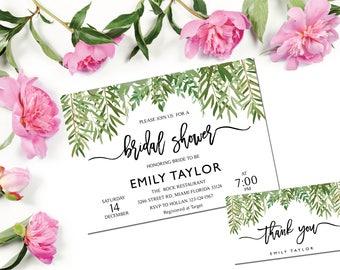 Bridal Shower Invitation, Greenery Wedding Printable , Greenery Bridal, Editable Bridal Shower Invitation, Greenery, Instant Download, ABR09