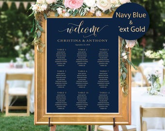 Wedding Seating Chart, Wedding seating chart poster, Wedding Table seating, Wedding seating chart, Navy seating chart, Find Your Seat, #149