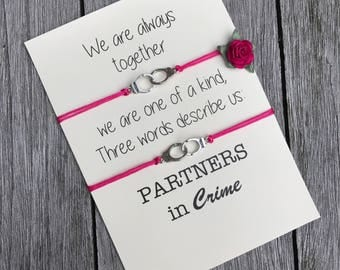 Partners in crime bracelet, Friendship bracelet, Best friend gift, Gift for friend, friendship bracelet set, birthday gift, Friendship, A40