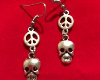Skull and Peace Sign Earrings