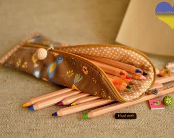 Kids Pencil Pouch, Colorful Pencil Case,  Simple Pencil Case, Funny Pouch,  Pencil Case for Her, Zipped Pencil Pouch, Stockmar Pencil Case