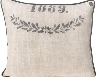 Antique German Grain Sack Pillow from 1887 - vintage linen - 23 x 21""