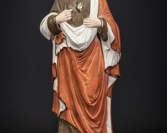 "13"" Antique Sacred Heart Jesus Bisque Porcelain Statue Vintage Christ Figure 4"