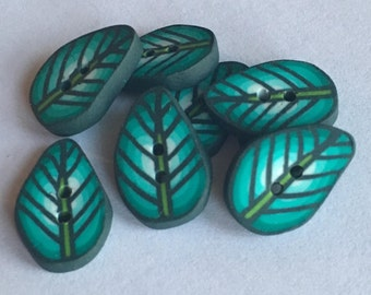 Set of 8 leaf buttons handmade with polymer clay fimo - HANDMADE BUTTONS