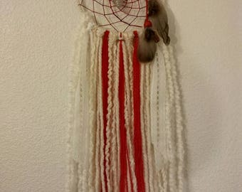 Reiki Boho Dream Catcher Red and White with Clear Quartz Crystal Wrapped in Silver, Bohemian, Crystal Healing, Native American Artist