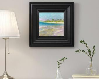 Original oil painting ocean seascape small artwork beach wildlife realism  home Living Room Bedroom Nursey Hall Kitchen Decor