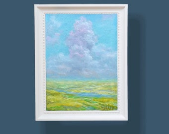 MINI Oil painting Original oil on canvas ready to hang field cloud nature landscape home wall living room bedroom nursery interior decor