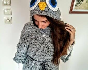 Hand Knitted owl poncho, Knit owl hood, Crochet Poncho Jacket, Hooded owl Sweater Jacket, Crochet Hooded Cardigan , Grey Owl hood poncho