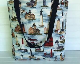 Handmade Everyday Tote | Beach Bag | US Lighthouse Tote