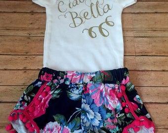 Ciao Bella baby, Italian girl outfit, Italian baby outfit,  boho baby outfit , headwrap baby outfit, pom pom shorts outfits, italy baby girl