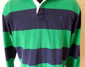 Vintage POLO RALPH LAUREN Rugby  Shirt Jersey Classic Stripes Long Sleeve Medium