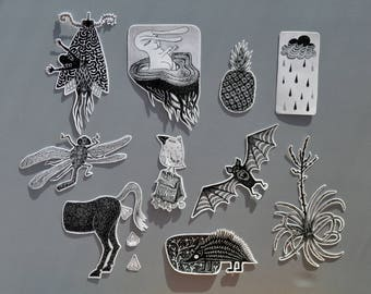 Sticker pack   10 stickers   random weird creatures