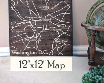 Washington DC Map, Large Wood Map, Washington DC Wall Art, Washington DC Wood Map, Custom Gift, Personalized Map, Custom Map by Novel Maps