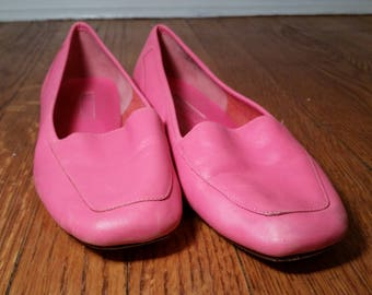 enzo angiolini hot pink flats, pink leather flats with square toe, 1980s pink shoe hot pink ballet slipper vintage flats women's 9