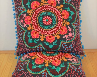 Suzani Style Coral Cushion Cover in Dark Grey, Pink & Multi