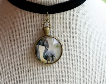 The Mother Elephant and Calf Medallion Choker