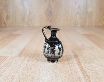 Jug - Vintage Jug - Antique Jug - Hand Made - Greek Gug - Black Jug with gold plated.