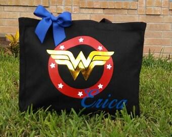 WonderWoman Personalized Tote Bag   Canvas Bag   Personalized Canvas Tote   Handbag