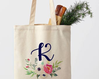 Personalized Tote Bag Floral Tote Bag white beige black Tote Bag Bridesmaid Tote Bag Canvas Tote Custom Tote bag any size any logo