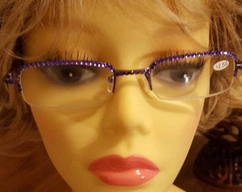 Glam Swarovski adorned reading glasses - Purple Heather with case