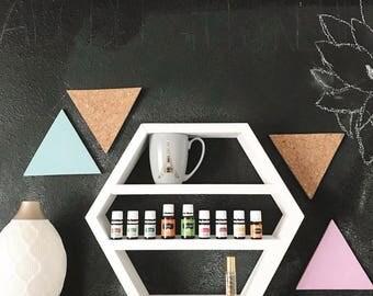 Small Hexagon Shelf, Hexagon, Essential Oil Display