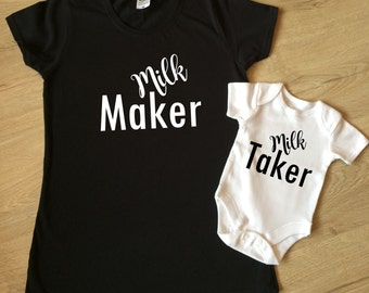 Milk maker milk taker, mum and baby set, mother and baby top, breast feeding mum, mum t-shirt baby vest set,