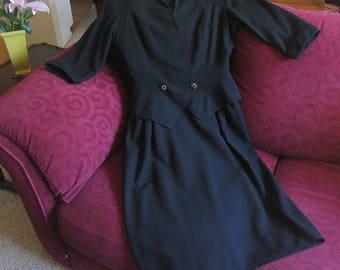 1940s Vintage Jane Andre Black Dress, Black Crepe Vintage 40s Dress and Jacket
