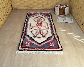 "Moroccan Rugs : Boucherouite Rugs, Woodland Nursery Rug, Rectangular Rug, Rag Rug, Azilal Minimalist Rug, Berber Area Rugs Bedroom 6' x 2'4"""