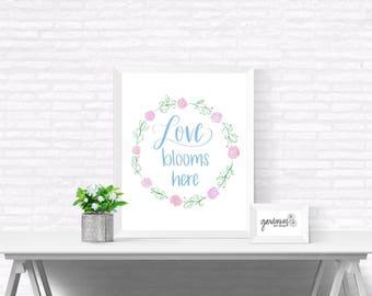Love Blooms Here - Flower Wreath
