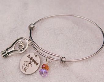 Figment Engraved - Imagination, One Little Spark Bracelet DISNEY Inspired Bracelet, Custom Name Charm Bracelet, Adjustable Bangle