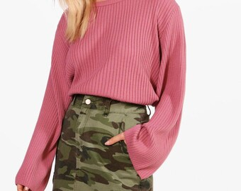 Wide Sleeve Knitted Jumper - Acrylic Rib Knit Bell Sleeve Jumper