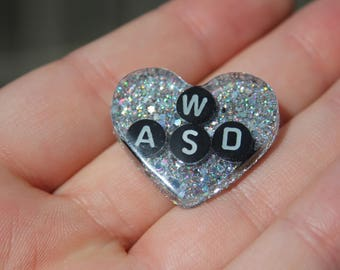 Holo Silver PC Gamer Heart Pin