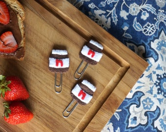 Nutella planner clip | felt chocolate paper clip | stationery accessory