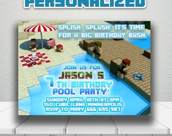PERSONALIZED MINECRAFT pool party invitation,Minecraft Birthday invite,Minecraft printable invitation,Mine Party supplies,Minecraft Birthday