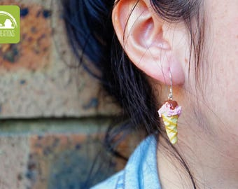 Strawberry Ice Cream Cone with Chocolate Sauce Earrings