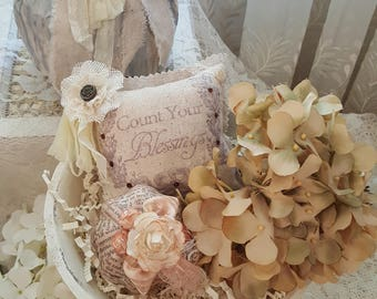 "Fall ""Count Your Blessings"" Lavender Sachet Pillow with Ribbon and Brown Back"