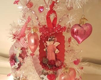 Vintage Valentine Metal Dessert Tin Ornament Red Vintage Victorian Cherub Ornament With Red Heart Vintage Key Valentine Anniversary Gift