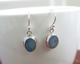 genuine opal earrings, doublet opal earrings, australian opal earrings, opal set in sterling silver earrings