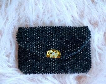 Black Beaded Vintage Mini Purse