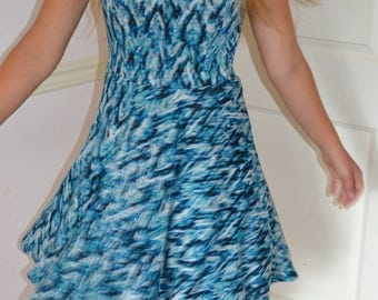 Turquoise Knit Twirly Dress
