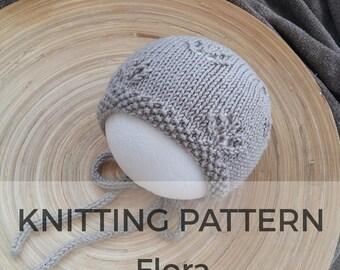 Flora Baby Bonnet Hat Pattern, knit pattern, bonnet pattern