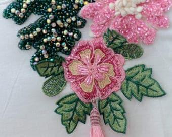 Handmade T-shirt embellished with Swarovski crystals