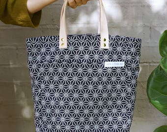 The A4 Tote: Blue Japanese Geo
