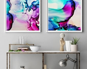 Print Set, Two prints, Two art prints, wall art, Neon art, Fluid art, Art Set of two, Giclee, Set of 2 wall Art, Abstract print