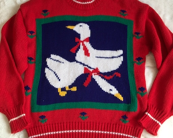 Vintage Red Mock Turtleneck Geese Kitsch Novelty Sweater Flowers Beverly Hills Zoo