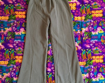 Vintage Black And White Gingham Checkered Plaid Polyester Wide Leg High Waisted Pants