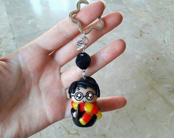 Black flower and Bead key ring. Harry Potter Kawaii in Fimo. HANDMADE