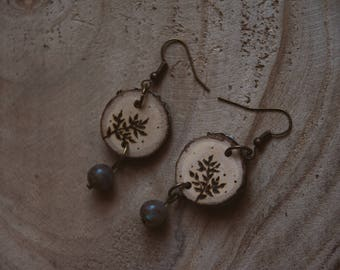 Labradorite oak wood burned earrings, fern wood burned earrings, nature earrings, forest earrings, gemstone earrings.
