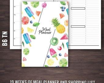 B6 Meal Planner, Traveler's Notebook Meal Planner, B6 TN Meal Planner, Traveler's Notebook Insert, TN Inserts, B6 Inserts, B6 TN Inserts