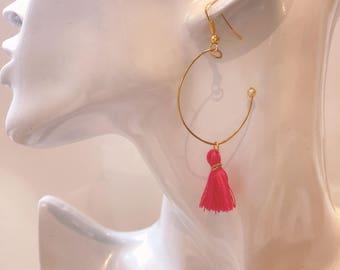 tassel earrings, pink earrings, hoop earrings, minitassel earrings, fringe earrings,